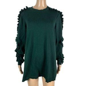Lane Bryant Sweater Ruffle Sleeve Green 14/16